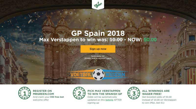 GP Spanje 2018 boost Mr Green
