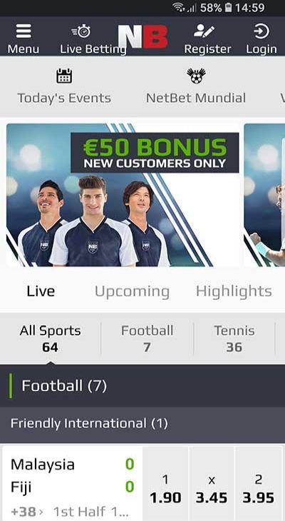 mobiel voetbalwedden NetBet